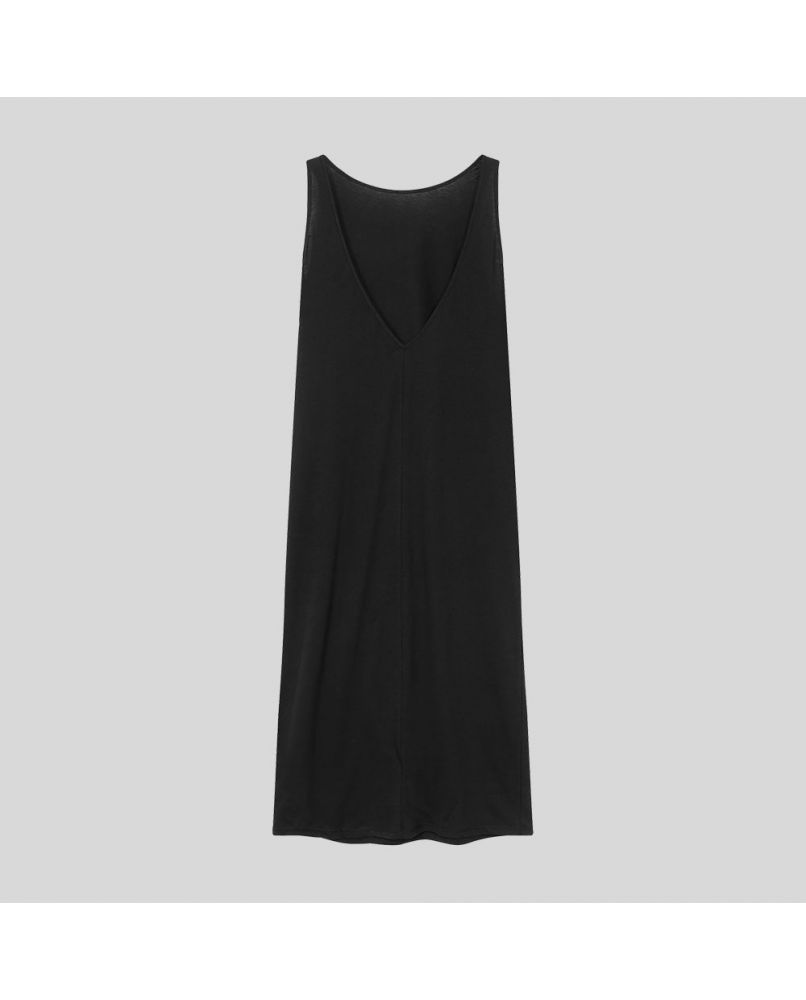 Long black nightgown with an open back.