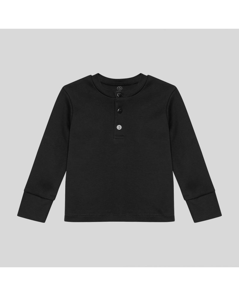 Kids PJ top in pure black with three buttons (grandpa style). The third button has a different color.