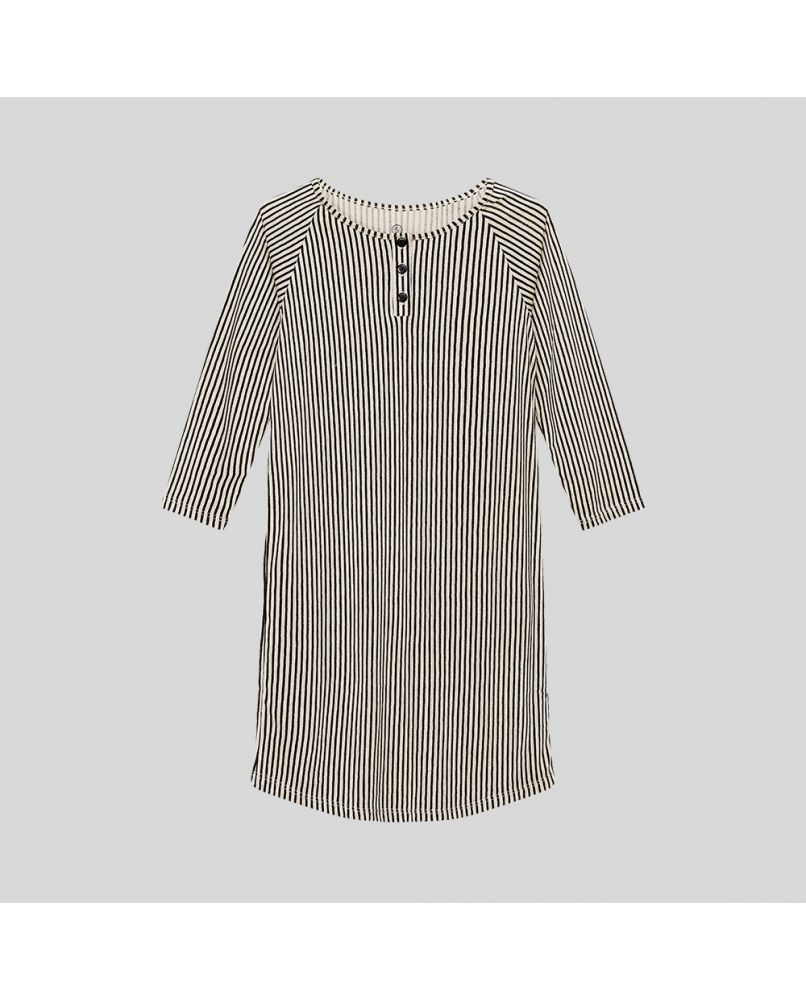Nightshirt for kids in beige/black vertical stripes