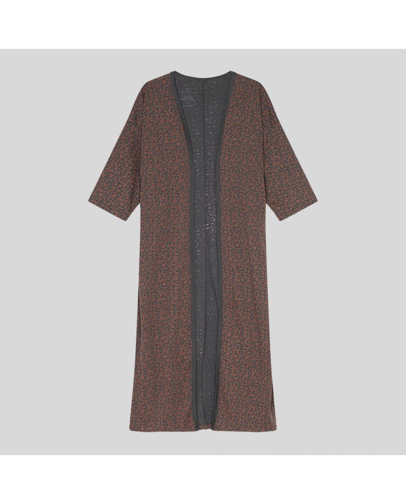 Extra long cardigan kimono with 2/3 sleeves and leopard pattern in brown