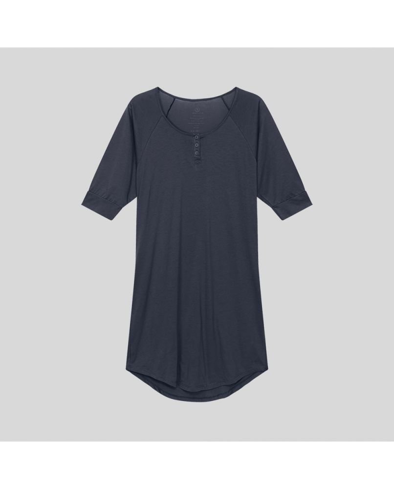 Knee long nightgown with 3/4 sleeves and 3 buttons in front. Color dark blue/grey