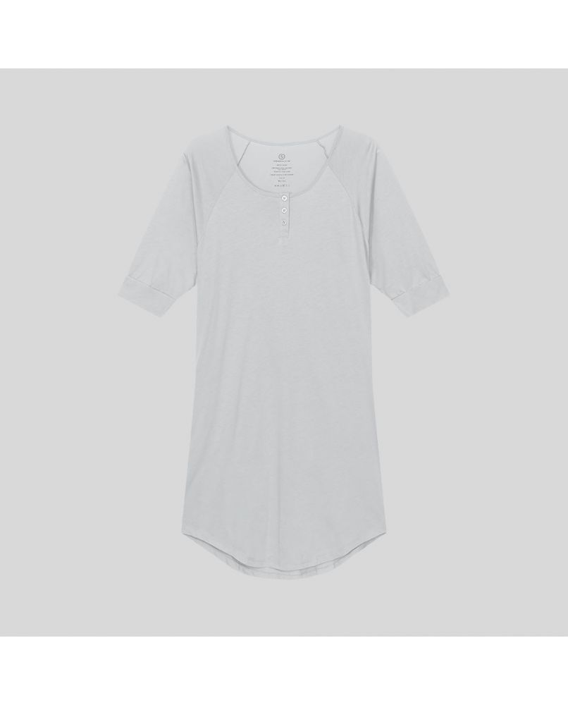 Knee long nightgown with 3/4 sleeves and 3 buttons in front. Color light grey