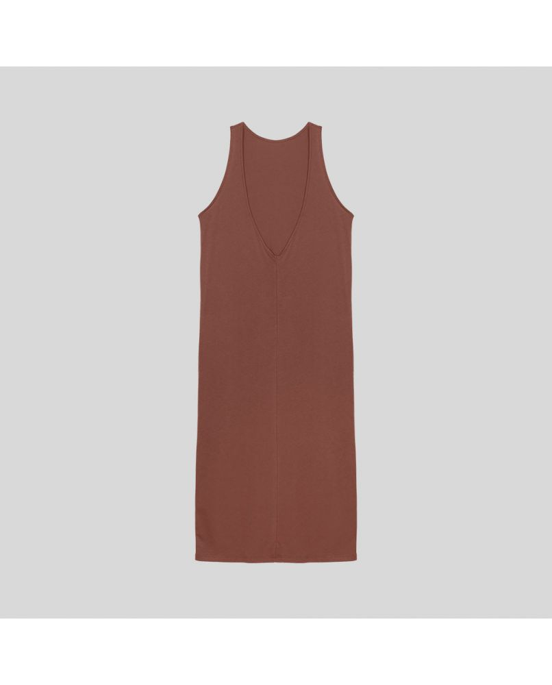 Long nightgown with an open back. No sleeves. color rust. 100% organic pima cotton.
