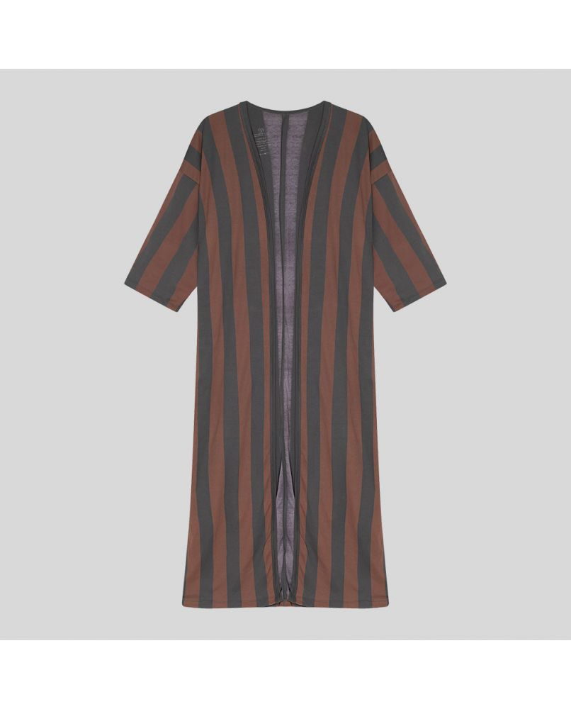 Extra-long kimono cardigan, with 2/3 sleeves. Vertical stripes in brown & dark grey