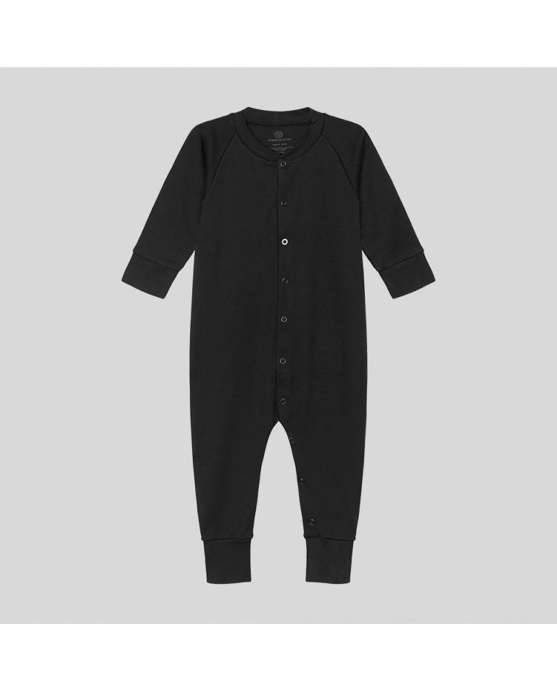Baby sleepsuit in black, with black snaps and a front opening (third snap in white)